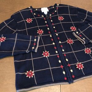 Full Zip Hand Embroidered Cardigan Sweater Size XL